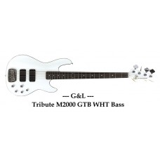 G&L Tribute M2000 GTB Carved Top Gloss White Electric Bass Guitar