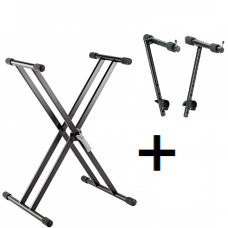 K&M 18997 Keyboard stand + 18941 STACKER FOR 18930/18990/18997 KEYBOARD STAND - BLACK